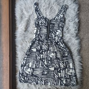 MAUDE black & white dress zip bustier bodice S
